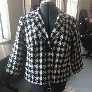 Houndstooth 3/4 Length Swing Style Jacket Size 14
